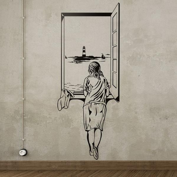 Adesivo Murale Ragazza Alla Finestra