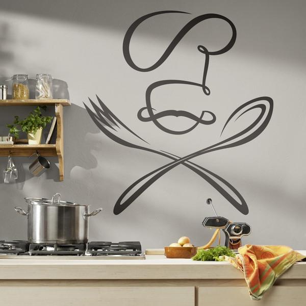 Adesivi Murali: Chef cucchiaio e forchetta