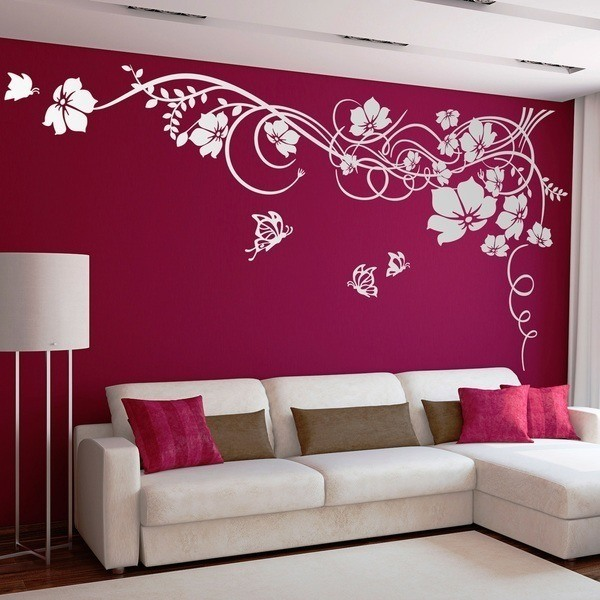 Adesivi Murali: Floreale con farfalle