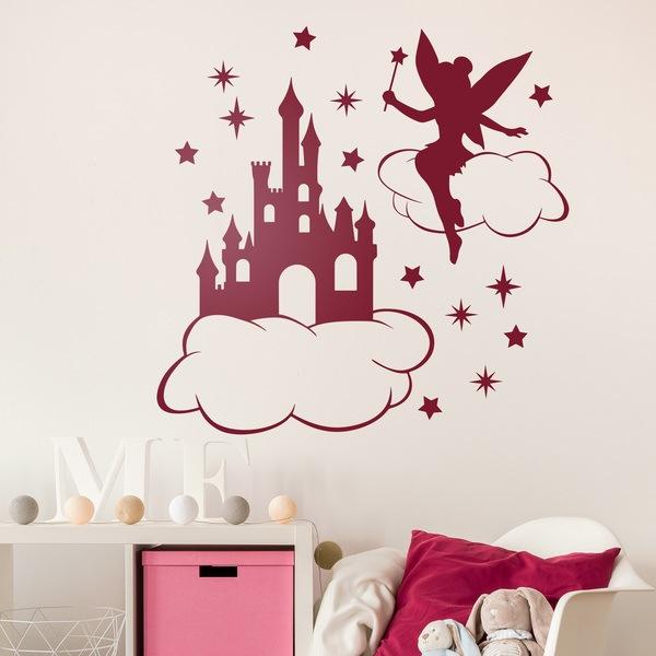 adesivo murale trilli nuvole stelle e castello. Black Bedroom Furniture Sets. Home Design Ideas