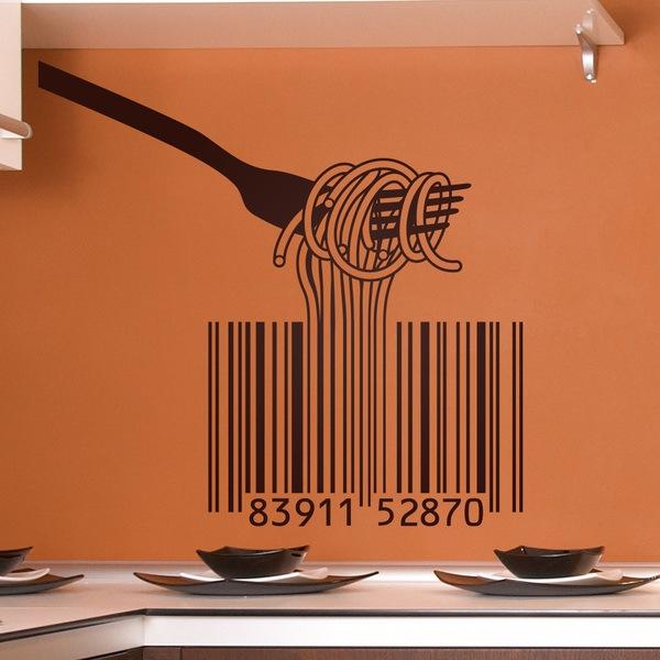 Adesivi Murali: Forcella, gli spaghetti e codice a barre
