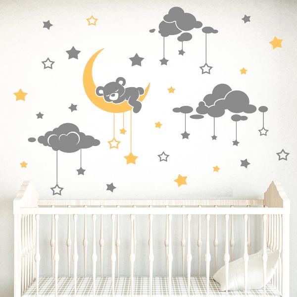 Adesivi per Bambini: Orso sonnolento cielo stellato