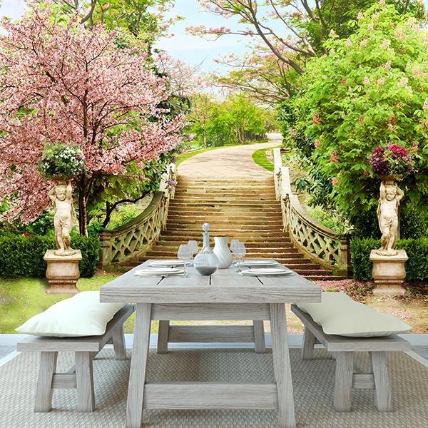 Carta da parati scale nel giardino grande - Scale da giardino ...