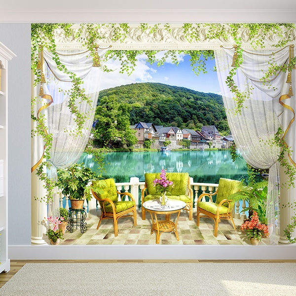 Adesivi murali 3d trompe l oeil di terrazze for Casetta sul lago catskills ny