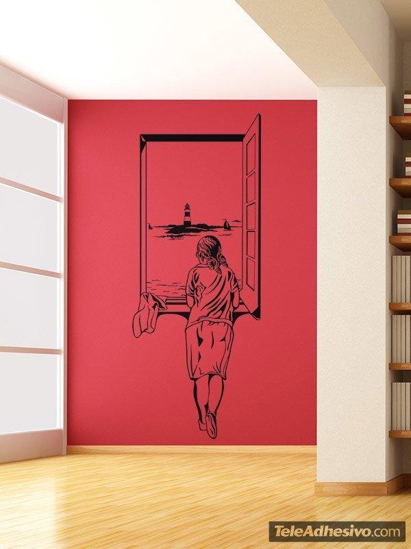 Adesivo murale ragazza alla finestra - Finestra in spagnolo ...