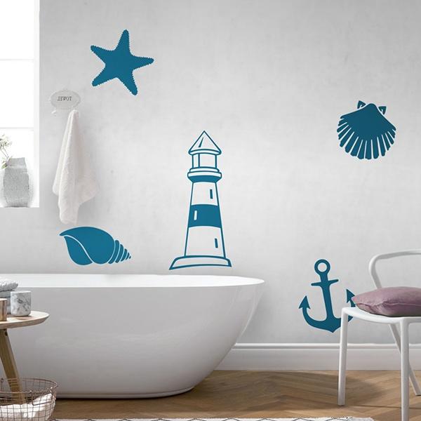 Adesivo murale bagno simboli marini for Adesivi mattonelle