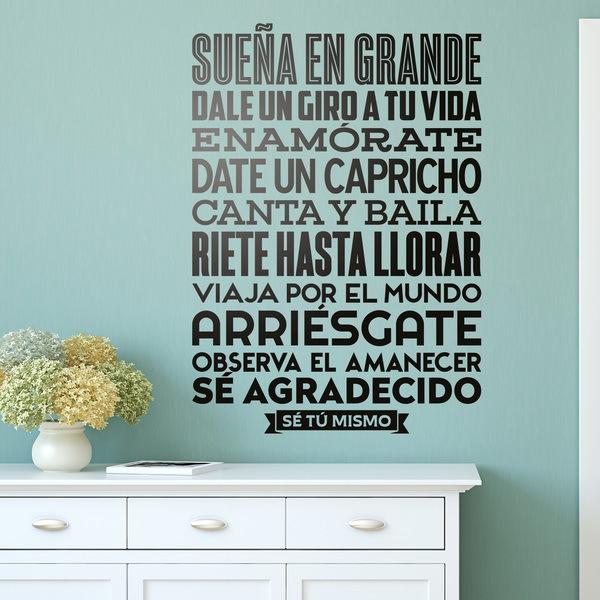 Adesivo murale in spagnolo con frase \