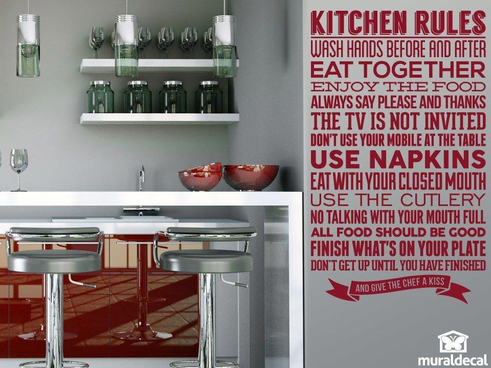 Adesivo murale per la cucina regole della cucina for I cucina niente regole