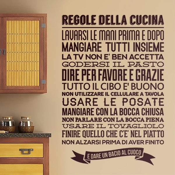 Adesivo murale per la cucina Regole de la Cucina