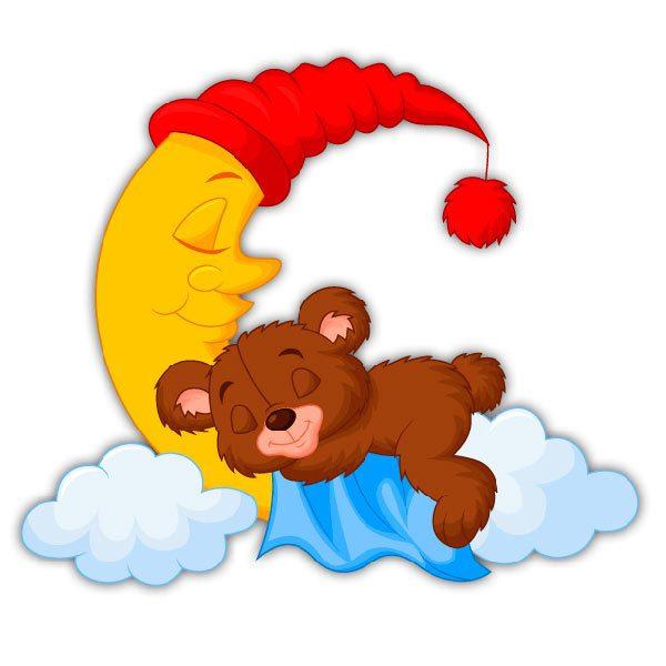 Adesivo murale bambini orsetto dormendo sulla luna stickersmurali.com