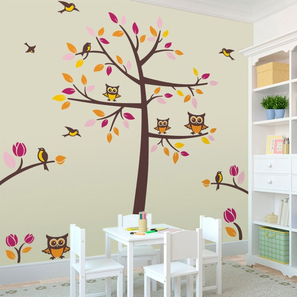 Stickers Murali Bambini Albero.Adesivo Murale Bambini Albero Con Uccelli E Gufi
