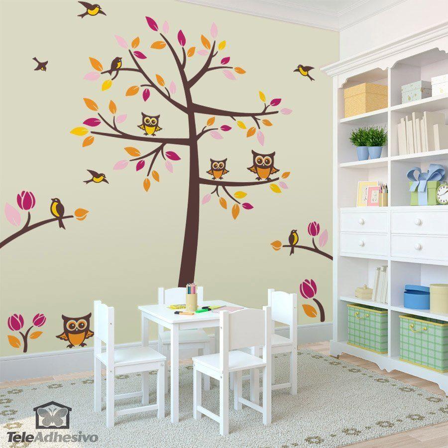 Albero uccelli e gufi for Vinilos muebles infantiles