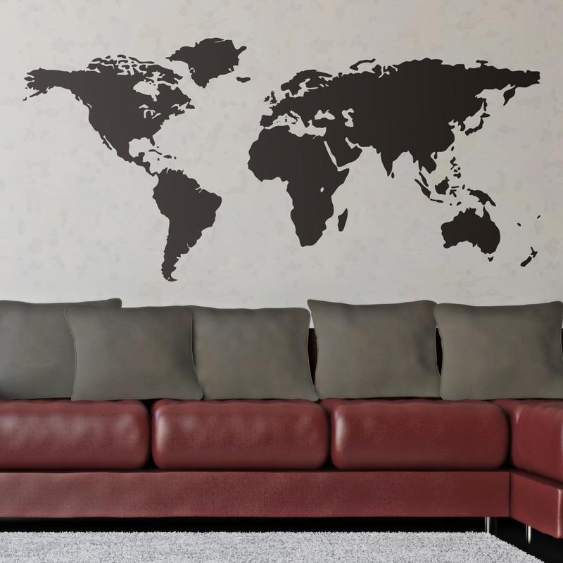 Mappa del mondo for Specchi adesivi murali