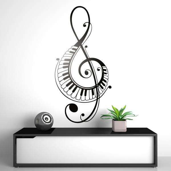 Adesivi murali di chiave di violino decorate con tasti di for Vinilos decorativos pared musicales