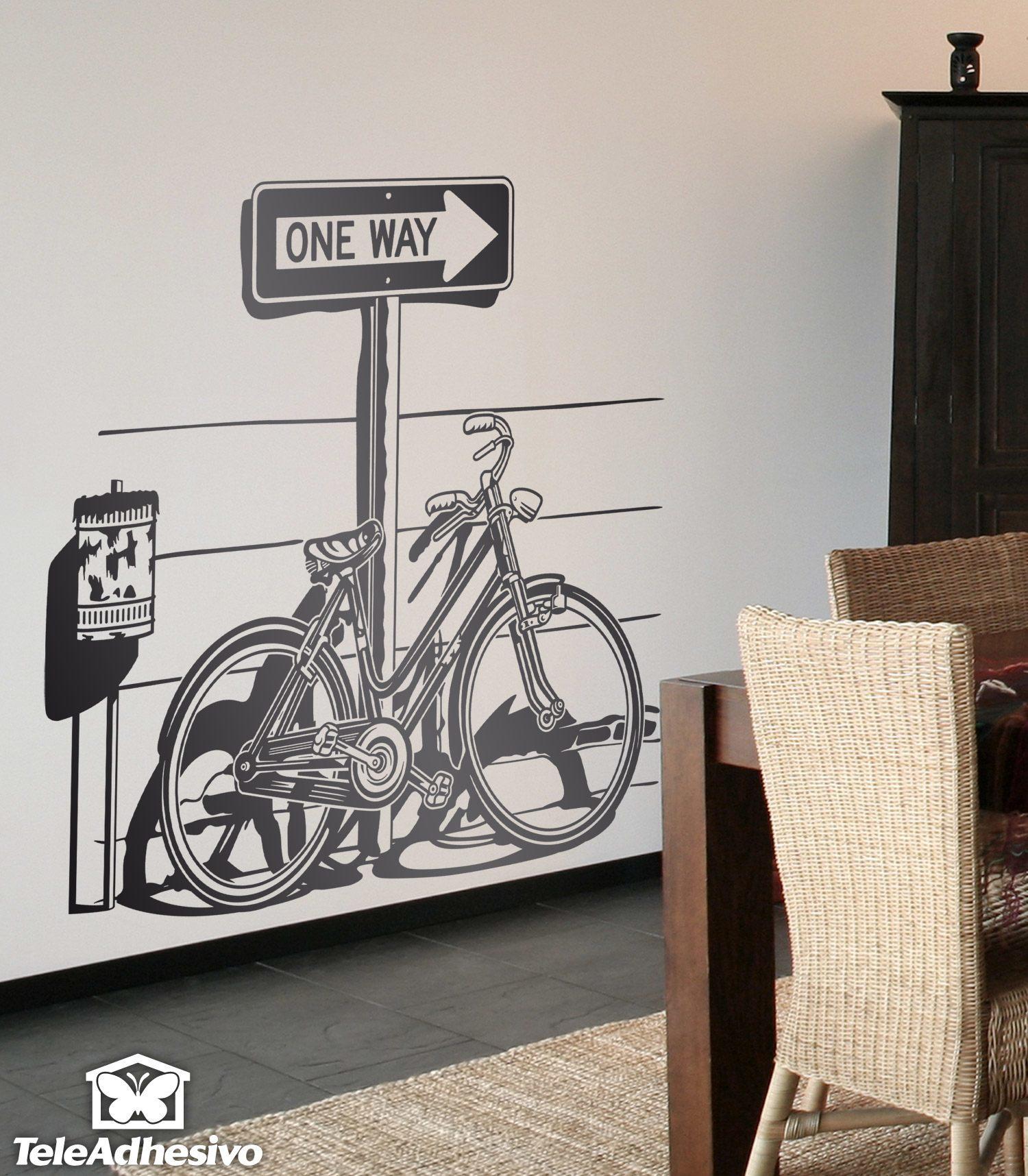 Adesivi murali di bicyclette epoca parcheggiate su un for Adesivi sul muro