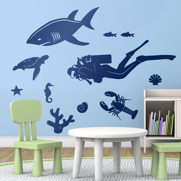 Adesivi murali per bambini fondo marino - Fondo rasante per piastrelle murali ...