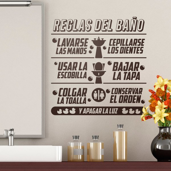 Sticker Murali Bagno Regole Da Bagno