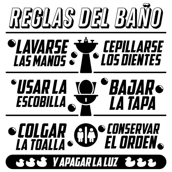 Sticker murali bagno regole da bagno - Bagno in spagnolo ...