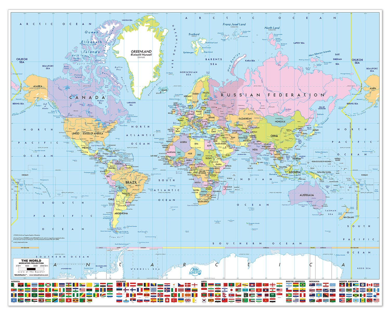 Poster adesivo mappa del mondo con le bandiere - Mappa del mondo contorno ks2 ...