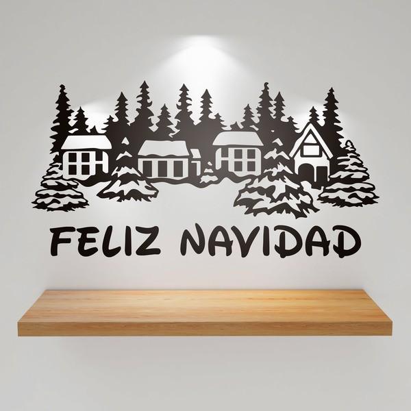 Adesivi Buon Natale.Case Coperte Di Neve E Buon Natale 1