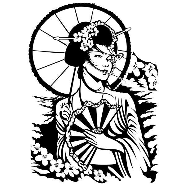 Famoso Adesivo murale geisha giapponese | StickersMurali.com VJ28