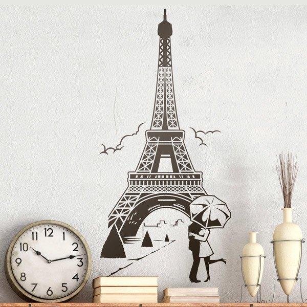Adesivi Murali Torre Eiffel.Adesivo Murale Amore Sotto La Torre Eiffel Stickersmurali Com