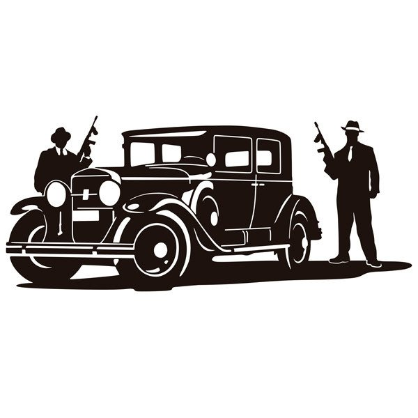 Adesivi Murali: Al Capone gangsters and armored Cadillac