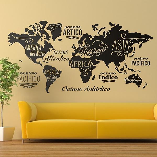 adesivi muro  Adesivi murali Mappa del mondo