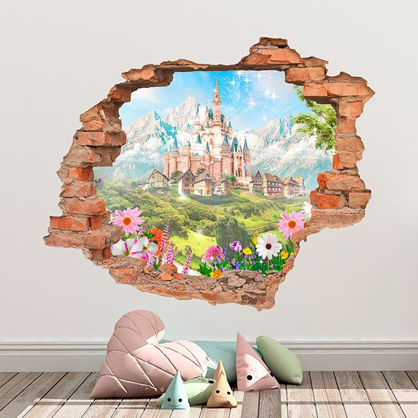 Adesivi Murali Per Bambini Disney.Adesivo Murale Bambini Buco Castello Disney Stickersmurali Com