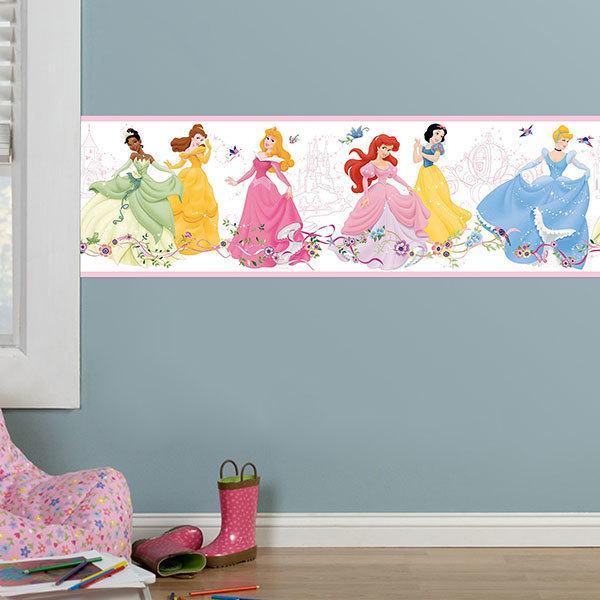 Adesivi Murali Principesse Disney.Bordo Adesivo Mural Bambino Principesse Disney Che Ballano