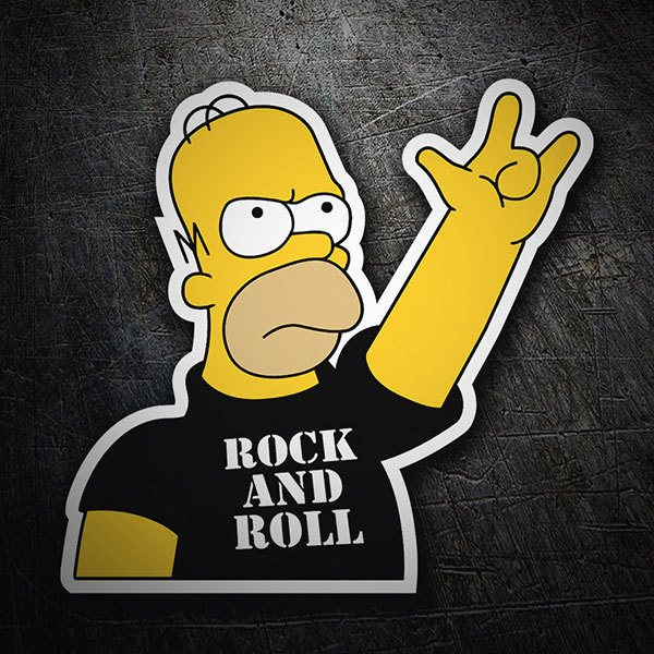 Adesivi per Auto e Moto: Rock and Roll Homer