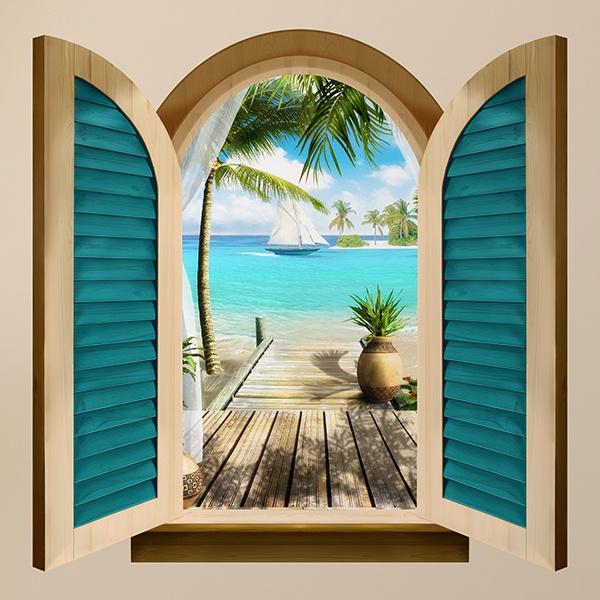 Finestra paradiso sul mare - Adesivo murale finestra ...