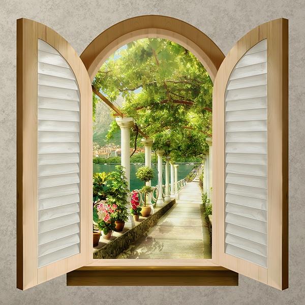 Finestra passerella sul lago - Adesivo murale finestra ...
