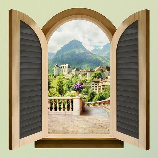 Finestra ostello in montagna - Adesivo murale finestra ...