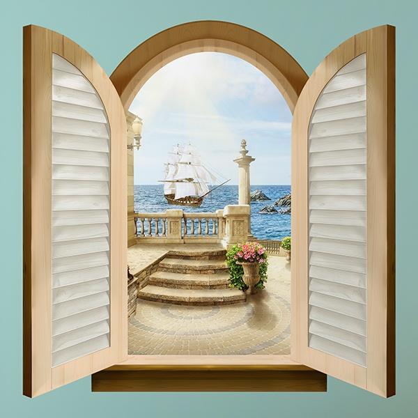 Finestra caravel sailing - Adesivo murale finestra ...