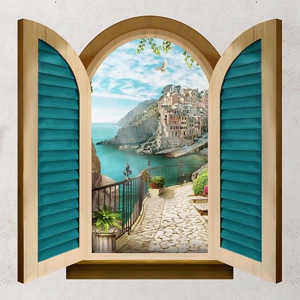 Finestra mar ligure - Adesivo murale finestra ...