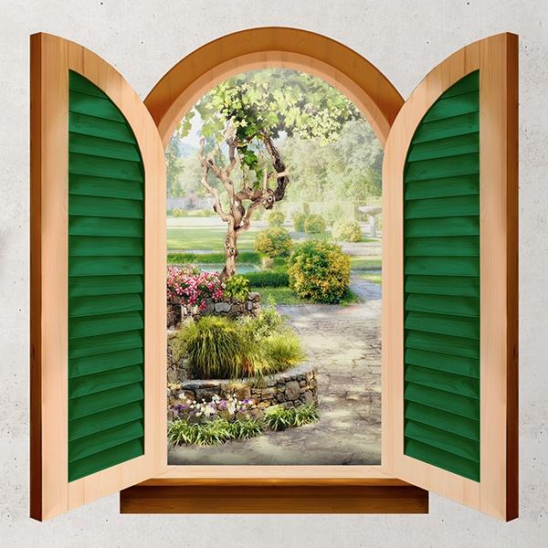 Finestra giardino del cottage - Adesivo murale finestra ...