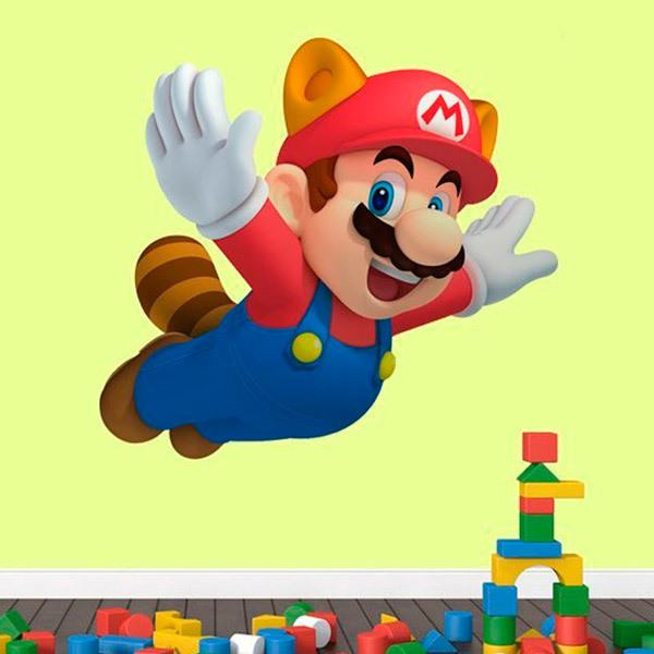 Adesivi Murali Super Mario.Adesivo Murale Bambini Mario Raccoon Stickersmurali Com
