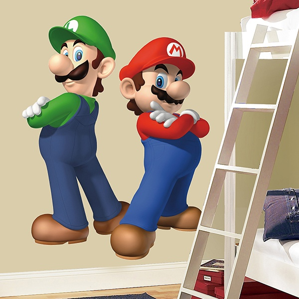 Adesivi Murali Super Mario Bros.Adesivo Murale Per Bambini Super Mario E Luigi Stickersmurali Com