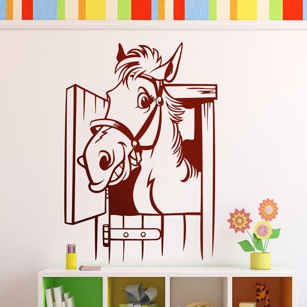 Adesivo murale bambini cavallo nella stalla