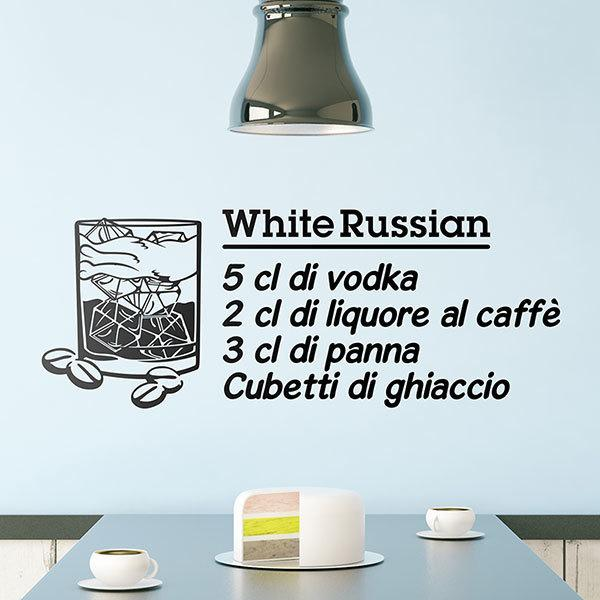 Adesivi Murali: Cocktail White Russian - italiano