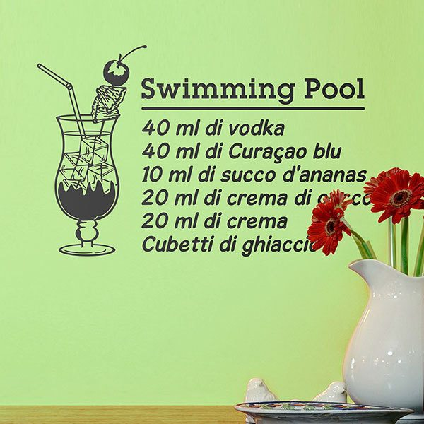 Adesivi Murali: Cocktail Swimming Pool - italiano