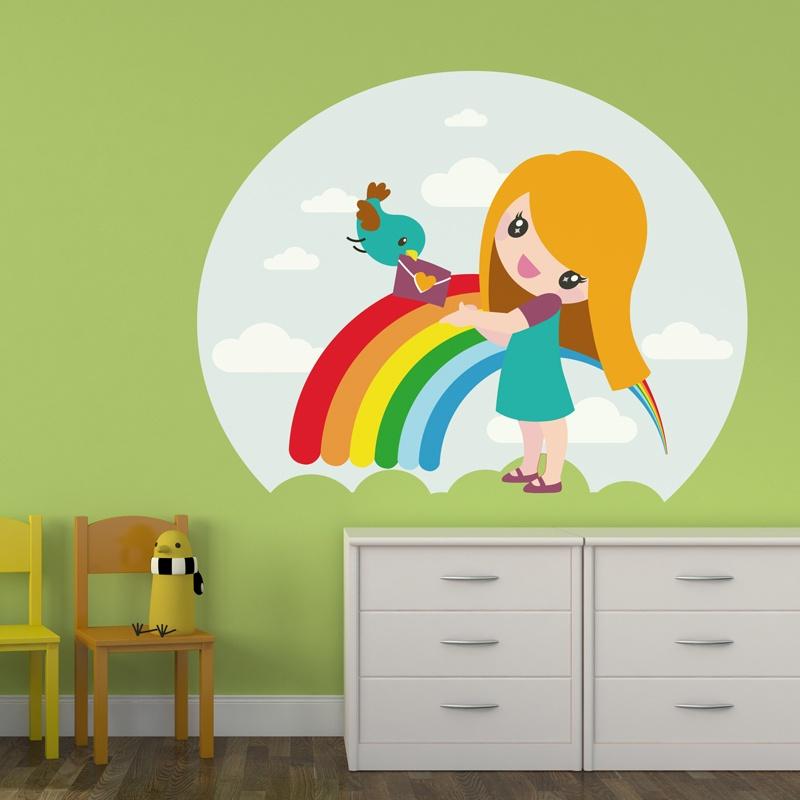 Adesivo murale bambini Ragazza arcobaleno  StickersMurali.com