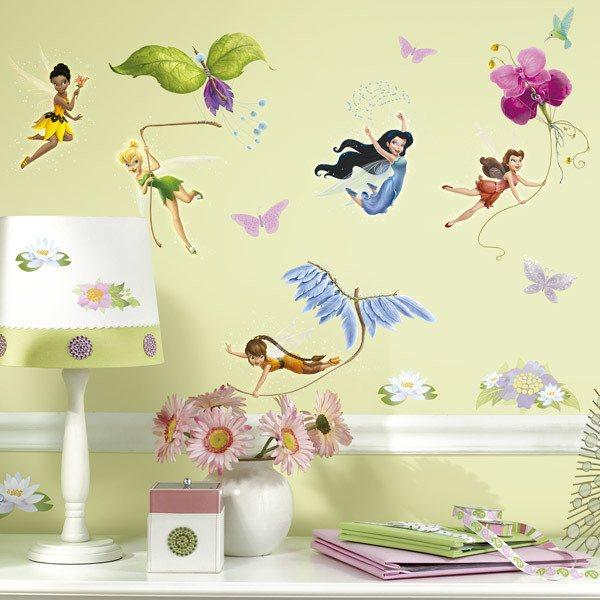 Adesivi Murali Per Bambini Disney.Adesivo Murale Bambini Fate Di Disney Con Glitter Stickersmurali Com