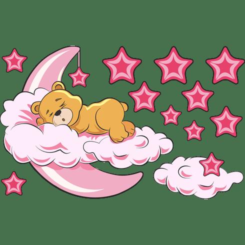 Adesivo murale bambini orso tra le nuvole e luna rosa for Disegno una finestra tra le stelle karaoke