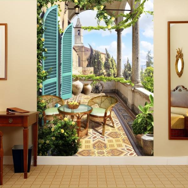 Adesivi murali 3d trompe l oeil di terrazze for Carta da parati 3d mare