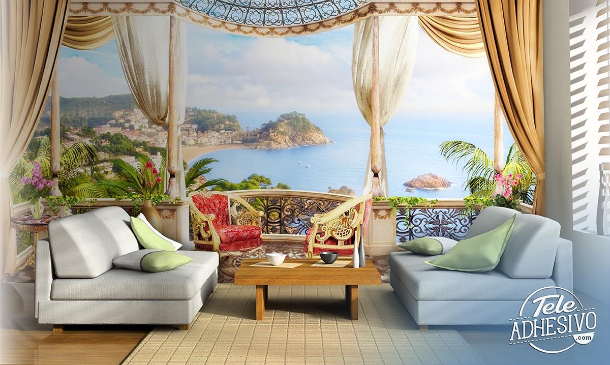 Carta da parati terrazzo di lusso vista mare for Carta parati lusso