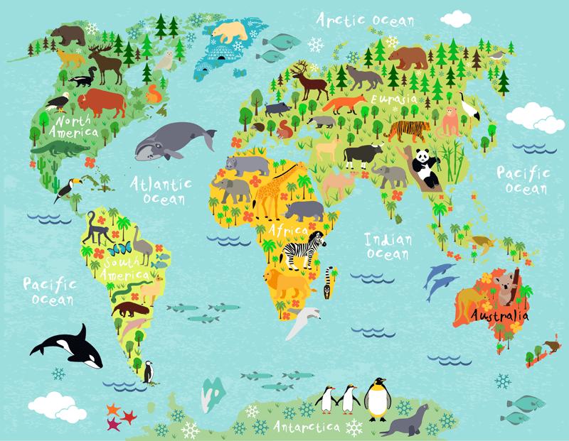 Fotomurale mappa del mondo continenti e animali per for Immagini del mondo per bambini
