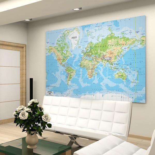 Cartina Del Mondo Da Parete.Adesivi Murali Mappa Del Mondo Stickersmurali Com