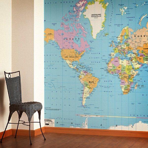 Carta da parati mappe del mondo for Carta da parati mappamondo